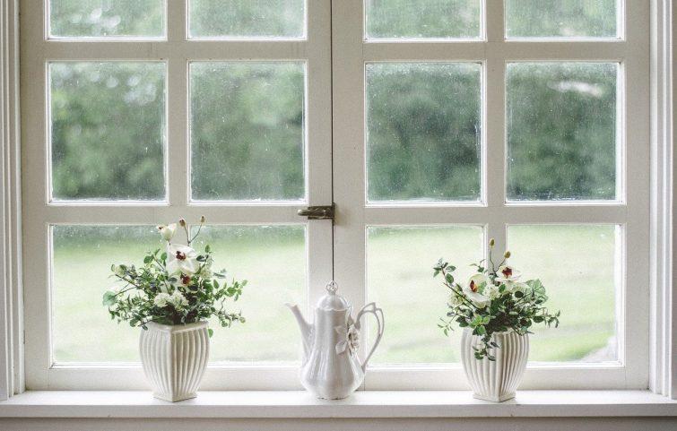 White Window Glass Shield Frame Flower Vase Home